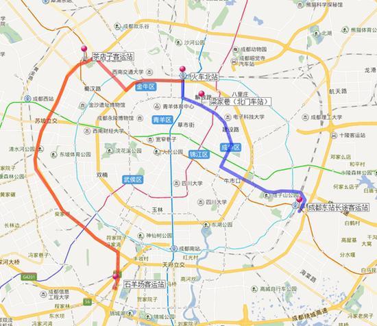 成都开行火车北站至东站、石羊场客运站公交接驳专线